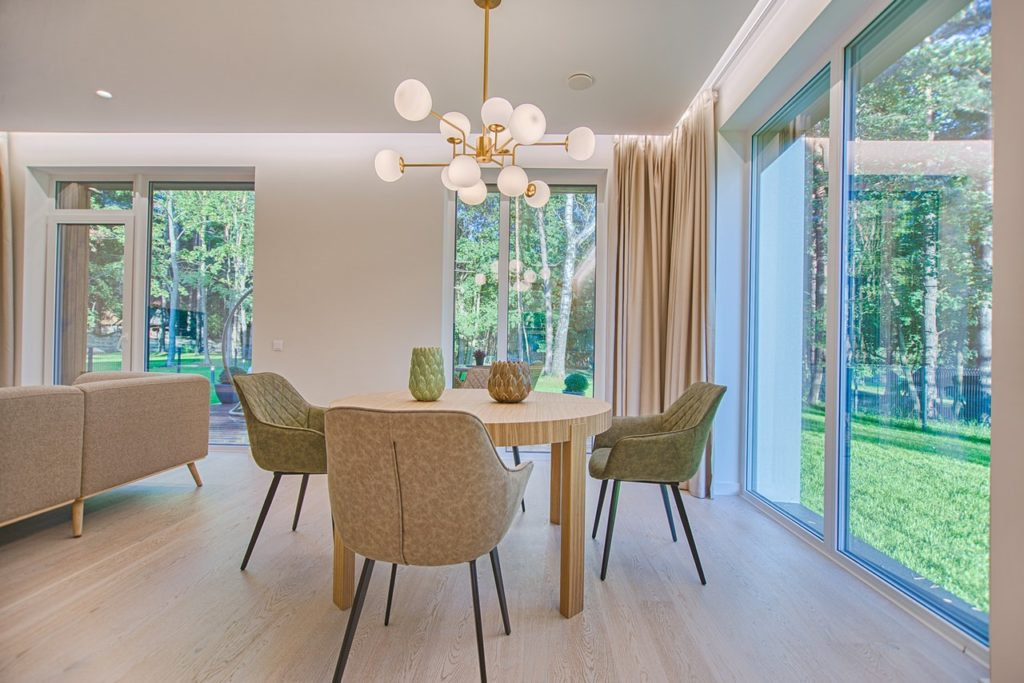 A modern dining room.